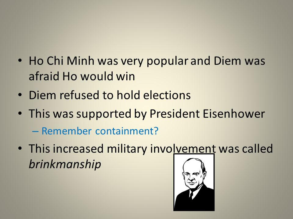 Ho Chi Minh was very popular and Diem was afraid Ho would win