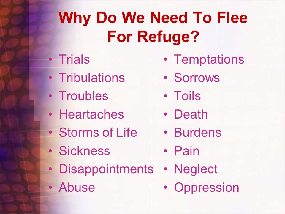 Why Do We Need To Flee For Refuge