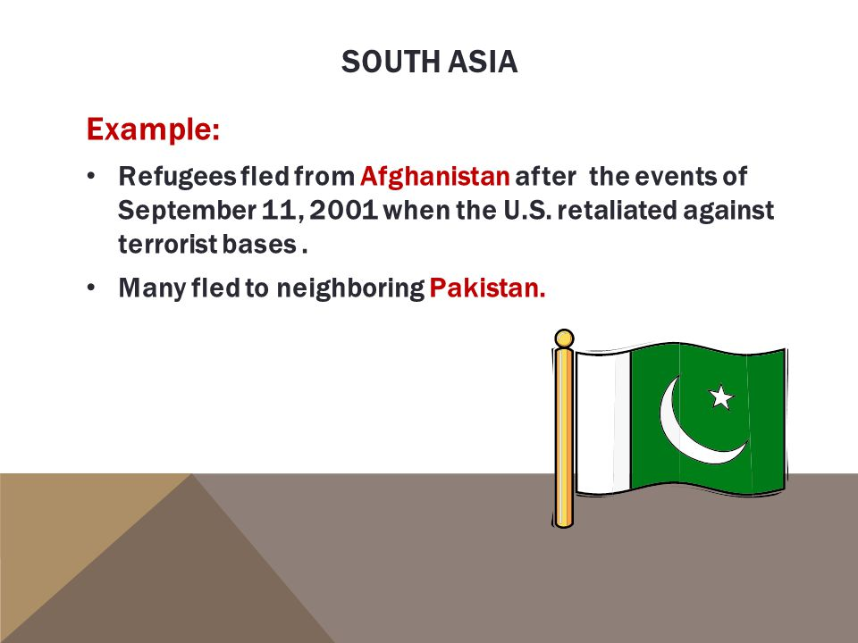South asia Example: Refugees fled from Afghanistan after the events of September 11, 2001 when the U.S. retaliated against terrorist bases .
