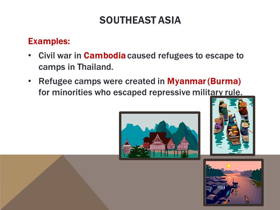 Southeast asia Examples: