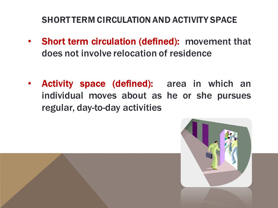 Short term circulation and activity space