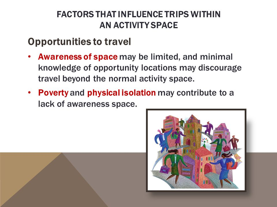 Factors that influence trips within an activity space