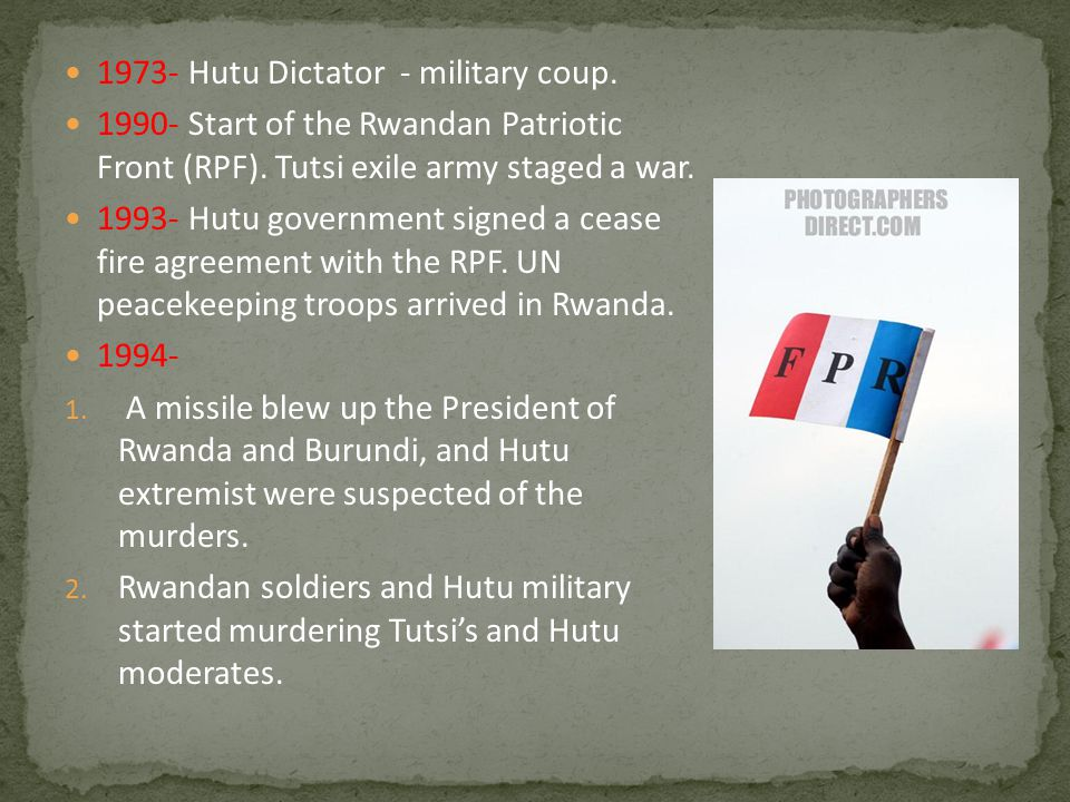 1973- Hutu Dictator - military coup.