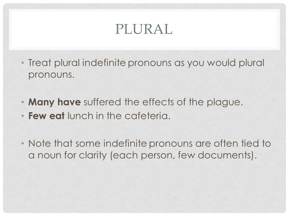 Plural Treat plural indefinite pronouns as you would plural pronouns.