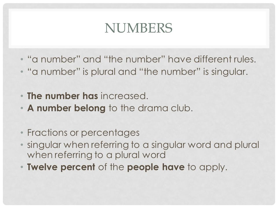 Numbers a number and the number have different rules.