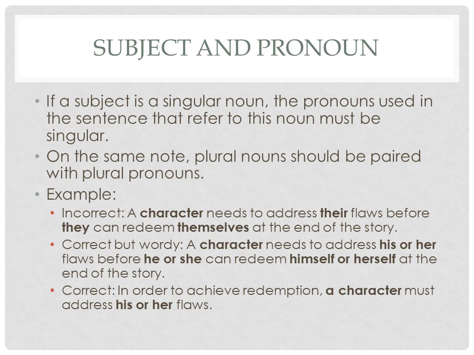 Subject and Pronoun If a subject is a singular noun, the pronouns used in the sentence that refer to this noun must be singular.