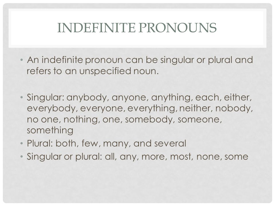 Indefinite Pronouns An indefinite pronoun can be singular or plural and refers to an unspecified noun.
