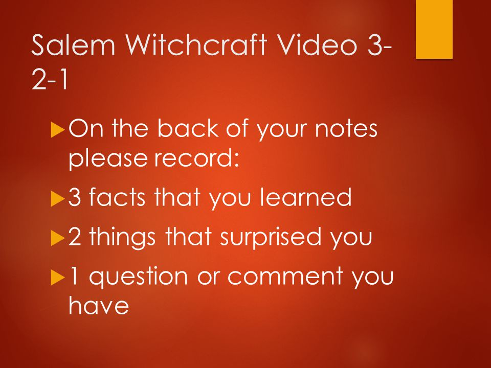 Salem Witchcraft Video 3-2-1
