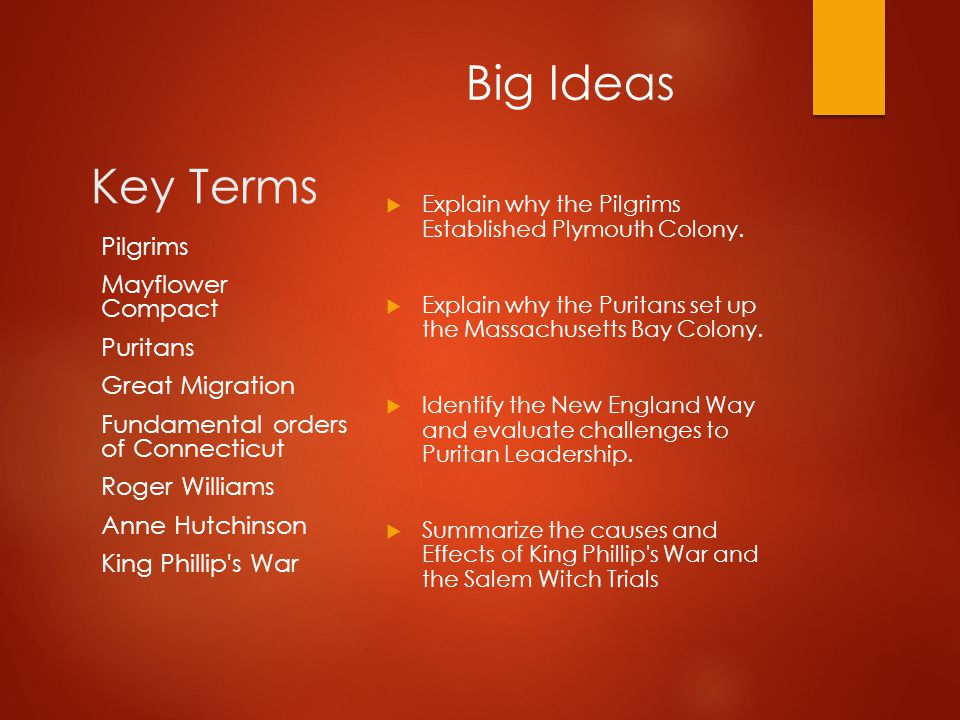 Big Ideas Key Terms Pilgrims Mayflower Compact Puritans