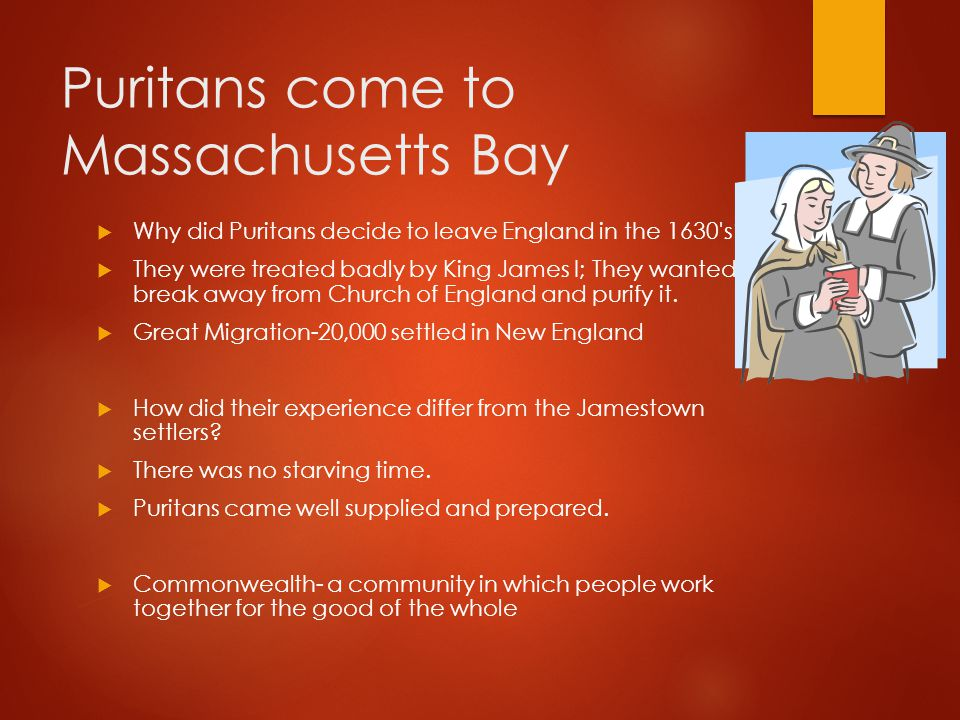 Puritans come to Massachusetts Bay