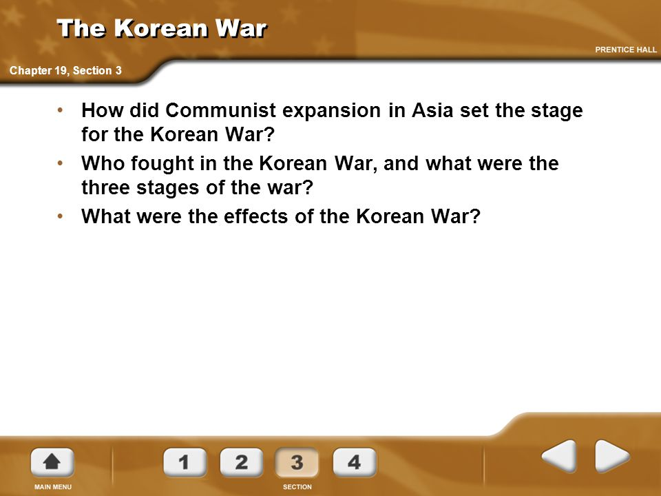 The Korean War Chapter 19, Section 3. How did Communist expansion in Asia set the stage for the Korean War