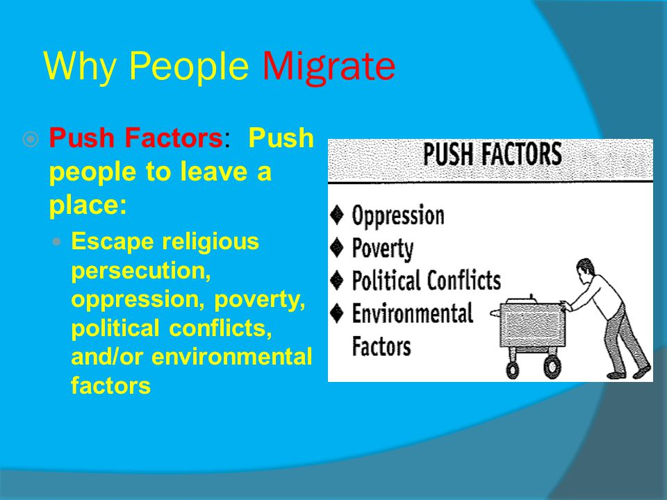 Why People Migrate Push Factors: Push people to leave a place: