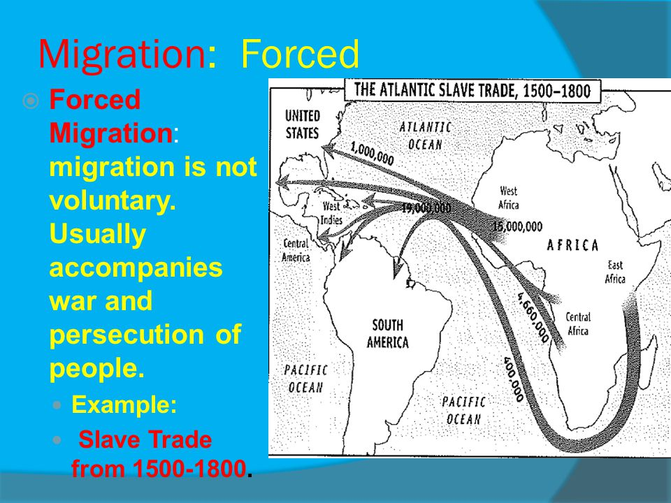 Migration: Forced Forced Migration: migration is not voluntary. Usually accompanies war and persecution of people.