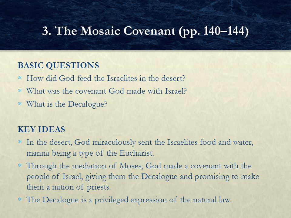 3. The Mosaic Covenant (pp. 140–144)
