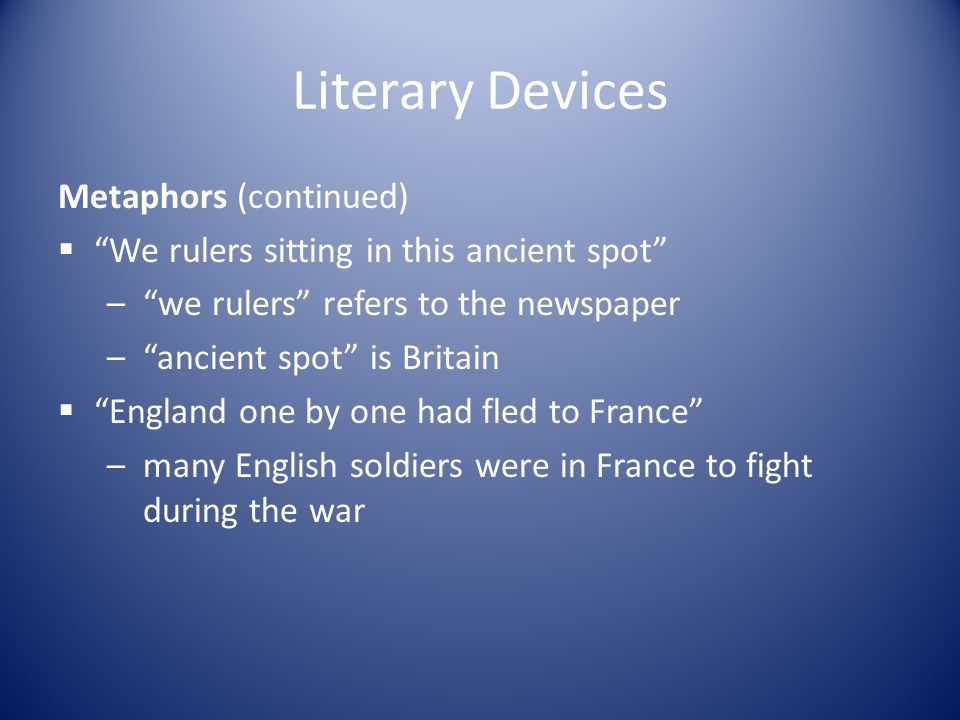 Literary Devices Metaphors (continued)