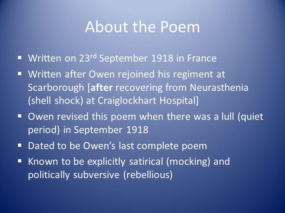 About the Poem Written on 23rd September 1918 in France