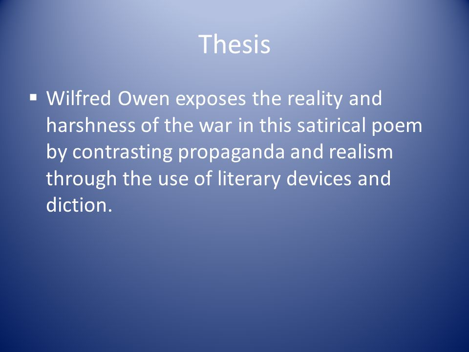 The use of literary devices in wilfre owens poetry