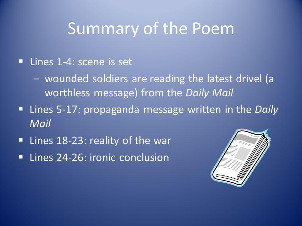 Summary of the Poem Lines 1-4: scene is set