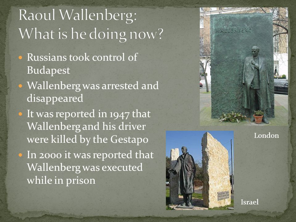 Raoul Wallenberg: What is he doing now