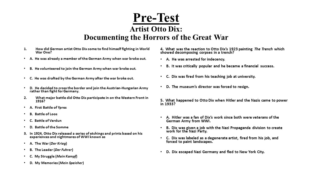 Pre-Test Artist Otto Dix: Documenting the Horrors of the Great War
