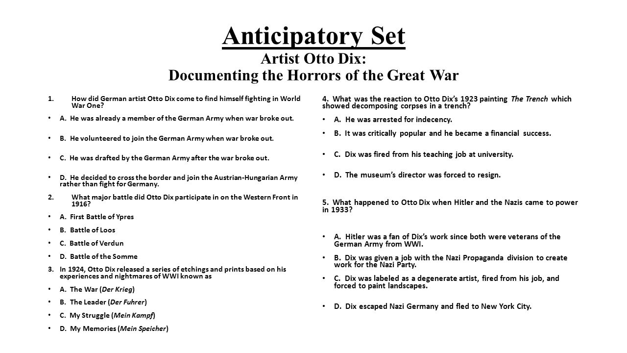 Anticipatory Set Artist Otto Dix: Documenting the Horrors of the Great War