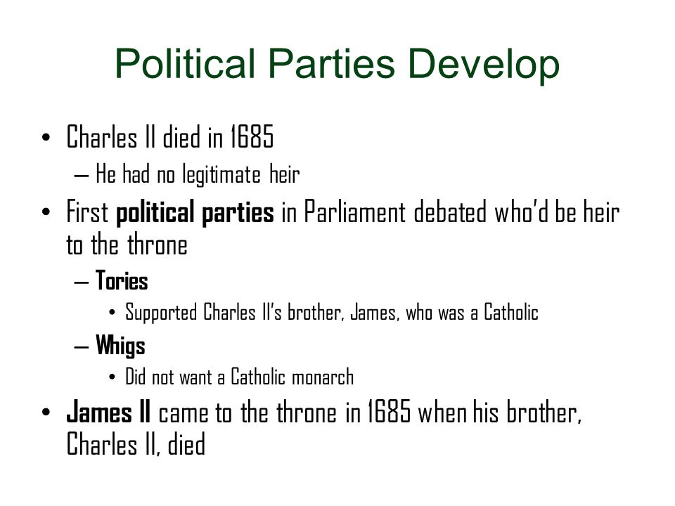 Political Parties Develop