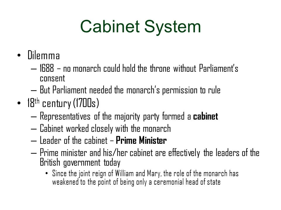 Cabinet System Dilemma 18th century (1700s)