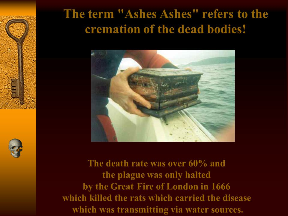 The term Ashes Ashes refers to the cremation of the dead bodies!