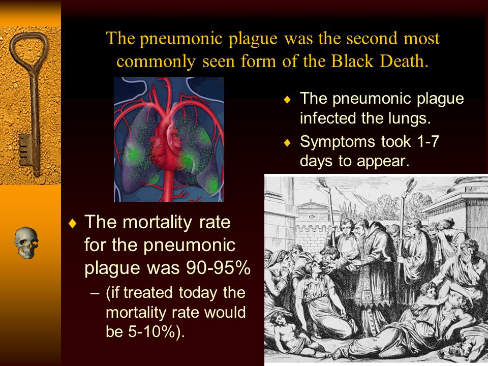 The mortality rate for the pneumonic plague was 90-95%