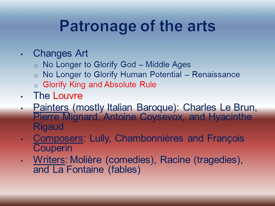 Patronage of the arts Changes Art The Louvre