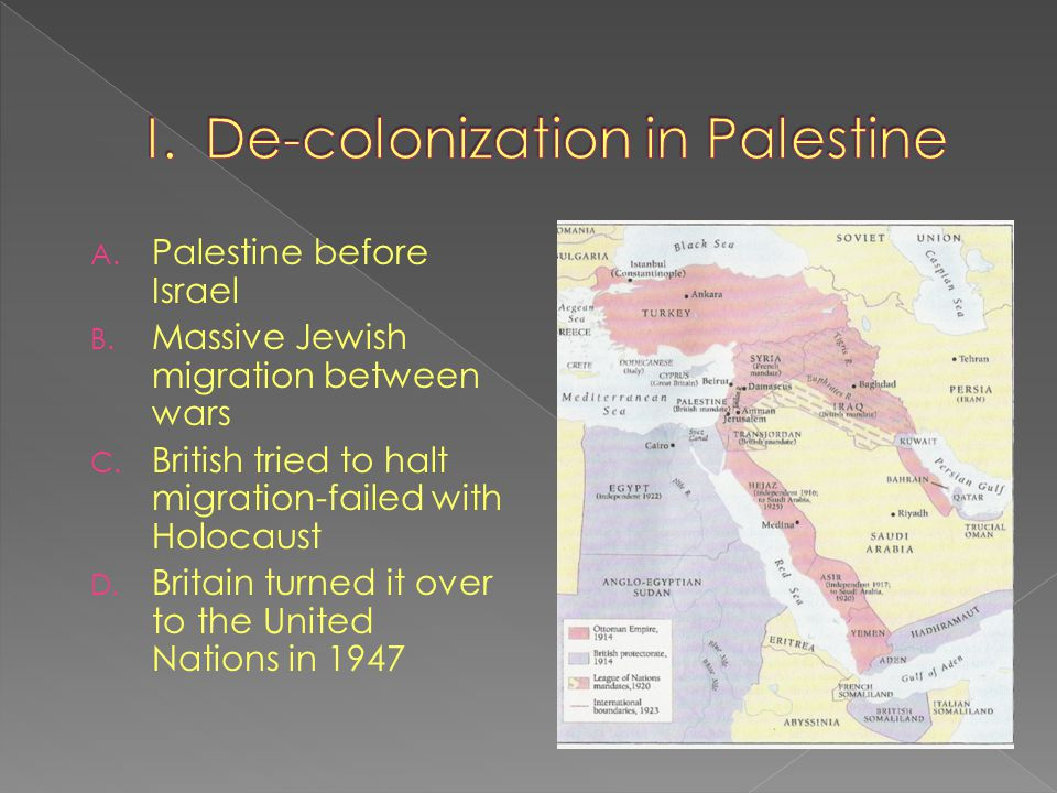 I. De-colonization in Palestine