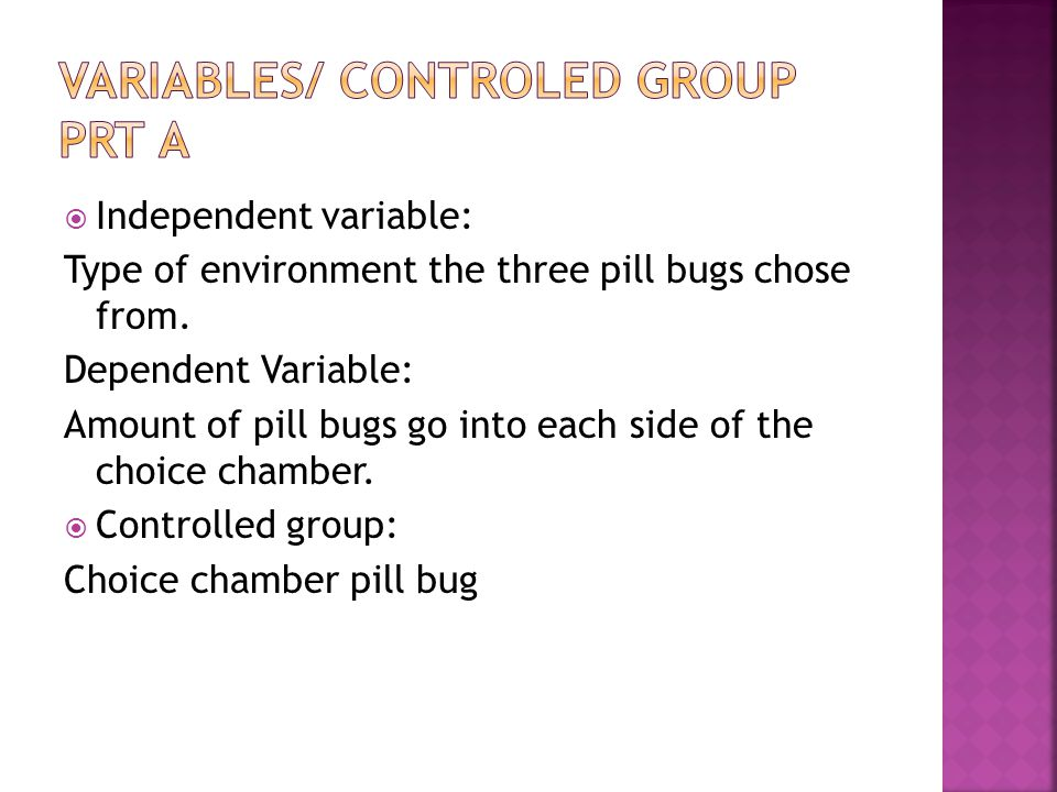 Variables/ Controled group Prt A