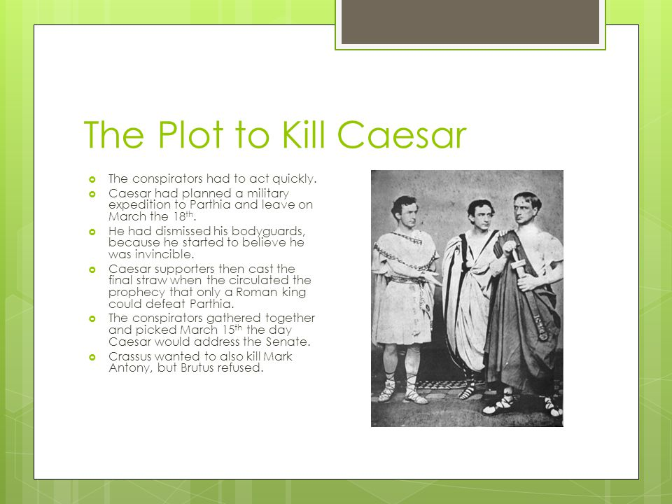 The Plot to Kill Caesar The conspirators had to act quickly.