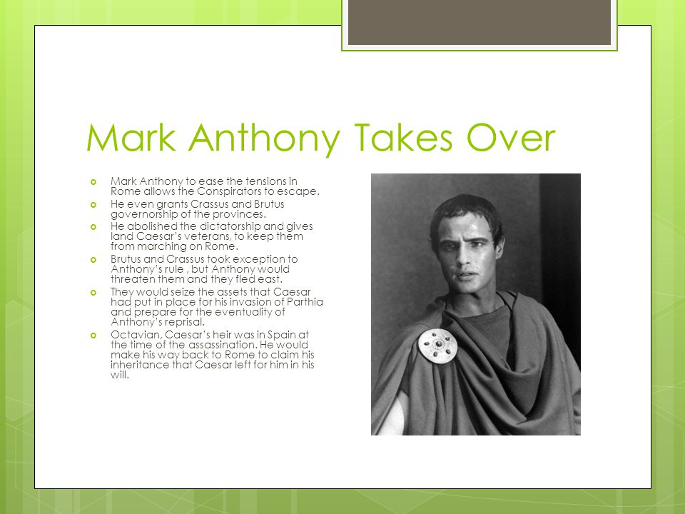 Mark Anthony Takes Over