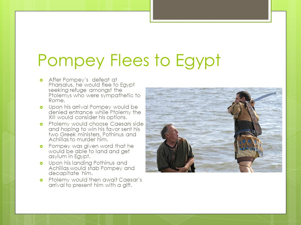 Pompey Flees to Egypt After Pompey's defeat at Pharsalus, he would flee to Egypt seeking refuge amongst the Ptolemys who were sympathetic to Rome.