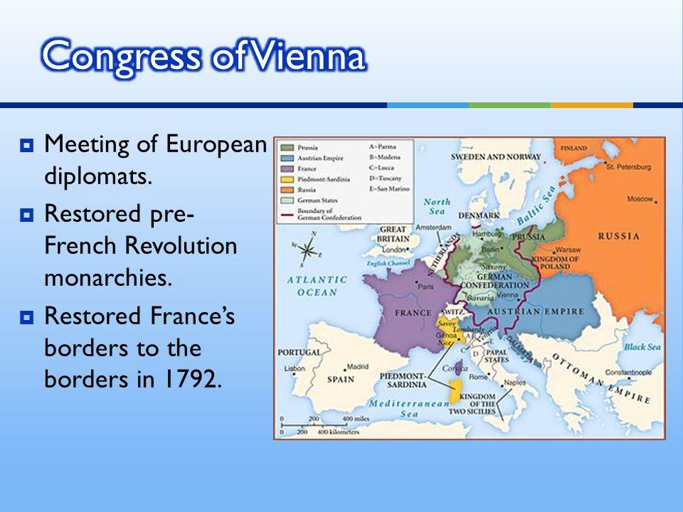 Congress of Vienna Meeting of European diplomats.