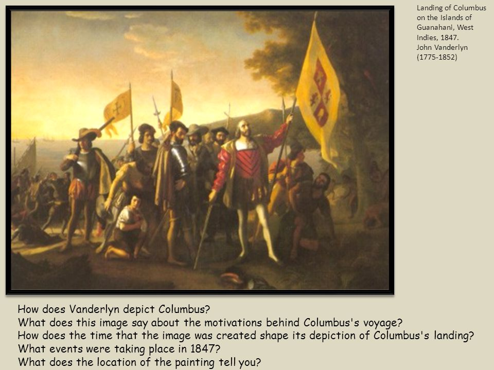 How does Vanderlyn depict Columbus