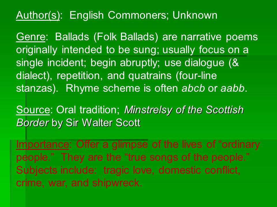 Author(s): English Commoners; Unknown