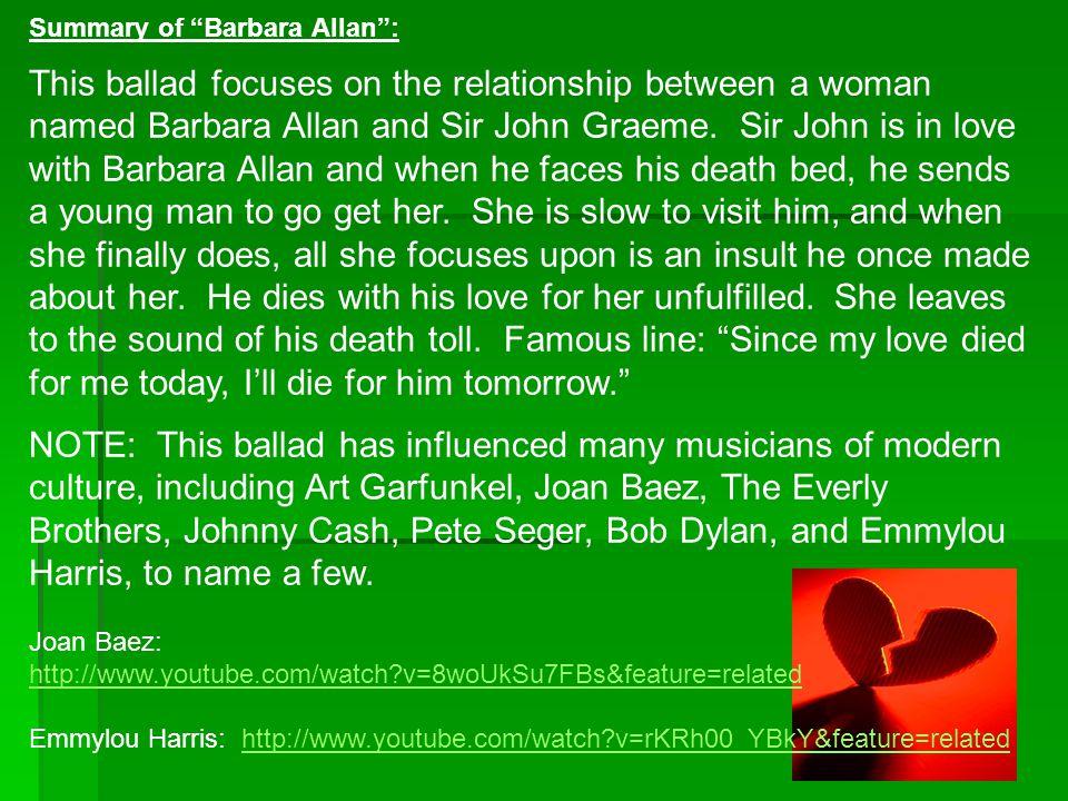 Summary of Barbara Allan :