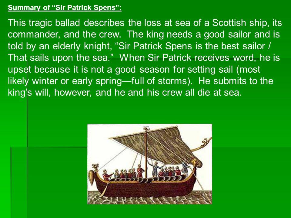 Summary of Sir Patrick Spens :