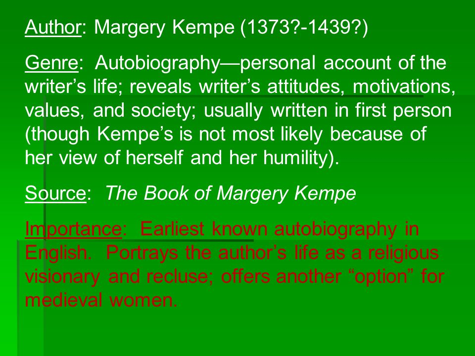 Author: Margery Kempe (1373 -1439 )