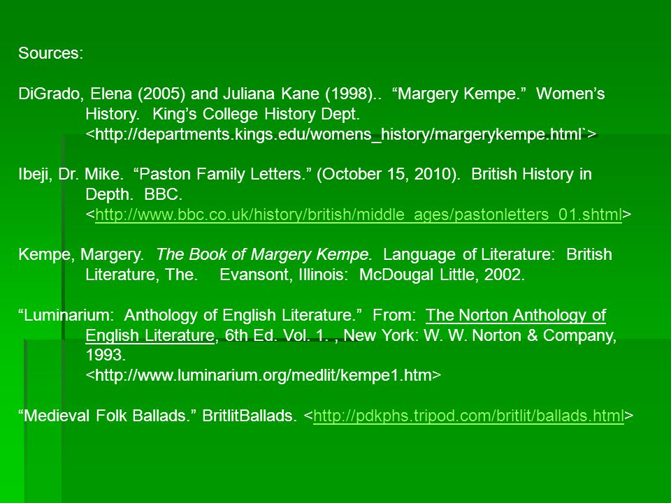 Sources: DiGrado, Elena (2005) and Juliana Kane (1998).. Margery Kempe. Women's. History. King's College History Dept.