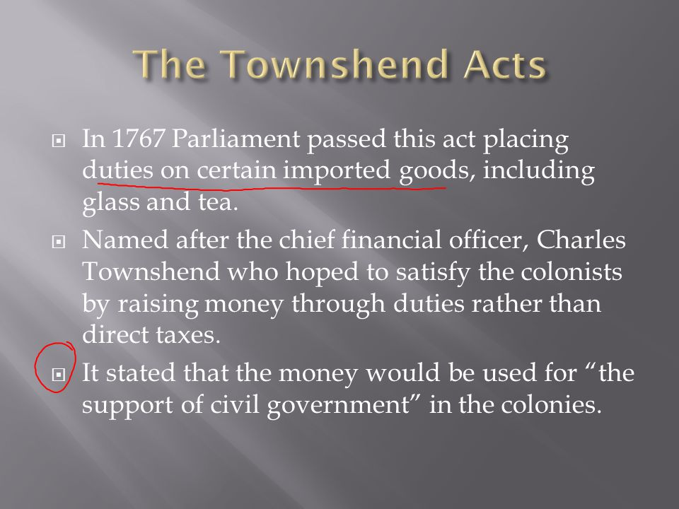 The Townshend Acts In 1767 Parliament passed this act placing duties on certain imported goods, including glass and tea.