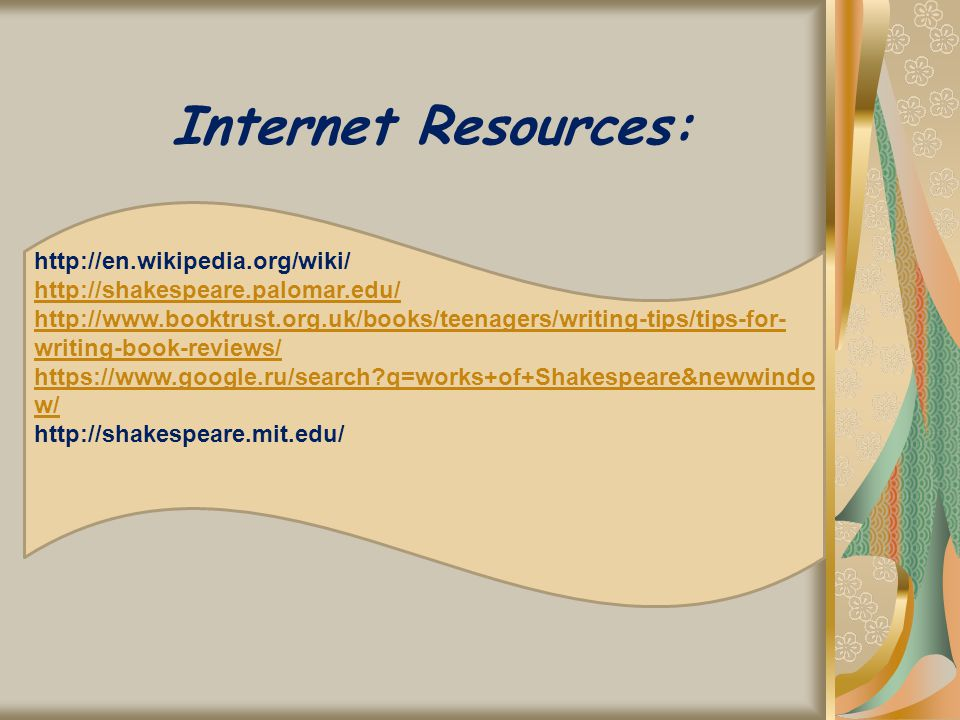 Internet Resources: http://en.wikipedia.org/wiki/