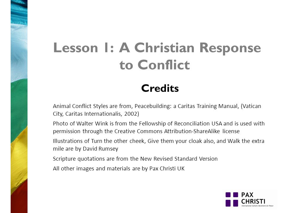 Lesson 1: A Christian Response to Conflict