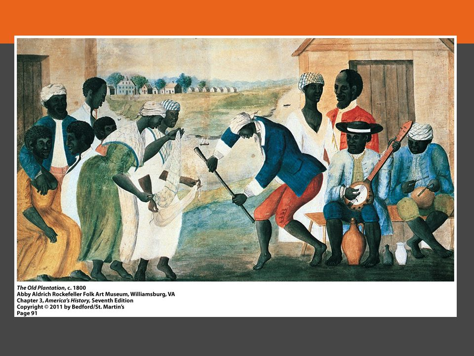 Set on a rice plantation, this unattributed painting of a slave ceremony provides students with evidence of African and African-American life in the South. At least one slave's recounting of experiences on a southern plantation described her parents' marriage ceremony including a broomstick, which the couple jumped over.