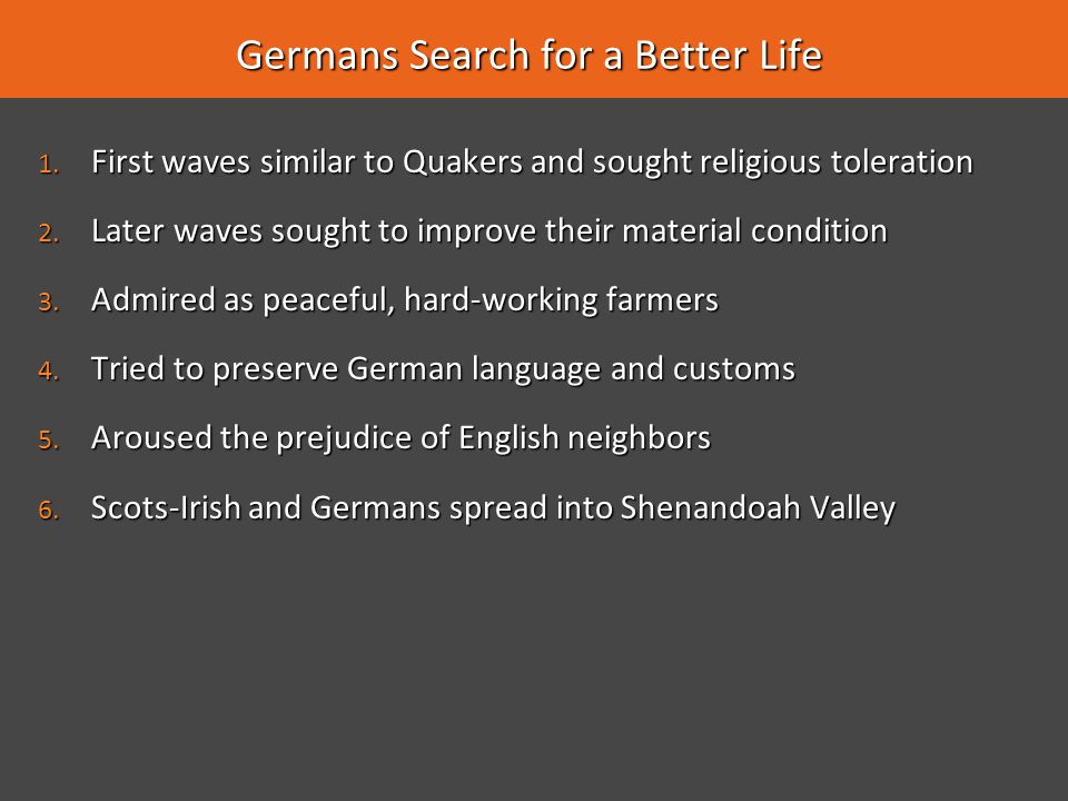 Germans Search for a Better Life