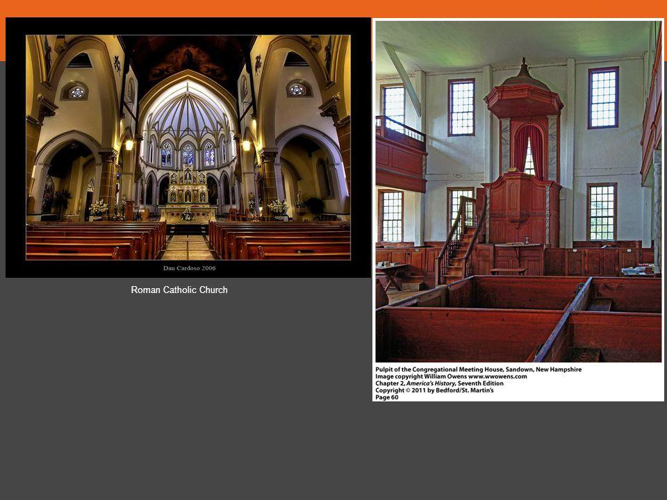 1. Describe the altar area of each church.