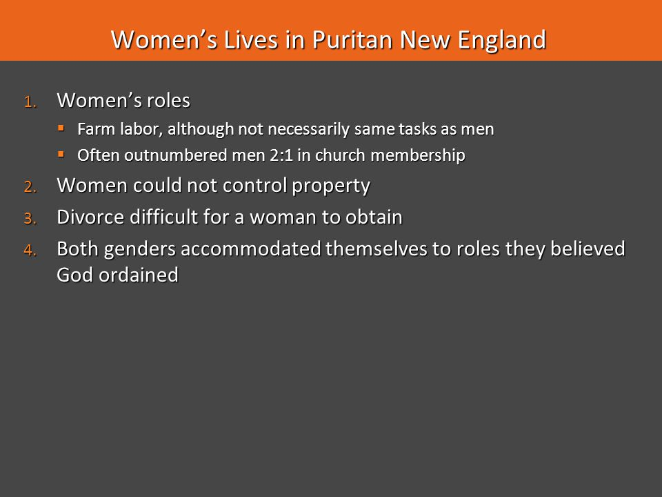 Women's Lives in Puritan New England
