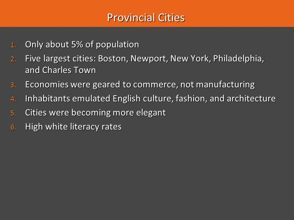 Provincial Cities Only about 5% of population